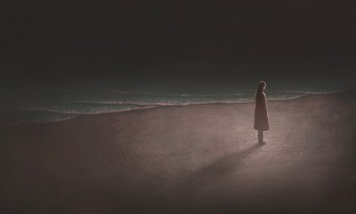 Woman alone with the sea, surreal painting