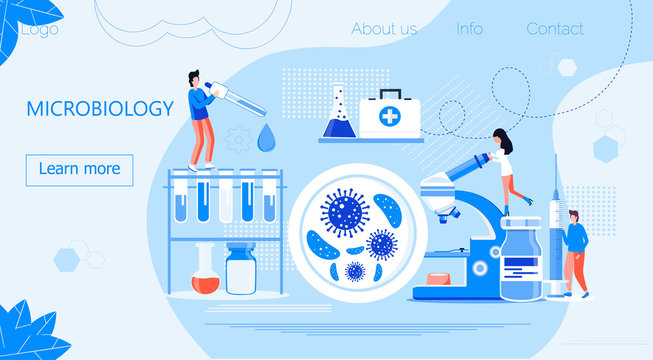Microbiological technology, biotechnology science concept vector. Tiny scientists study microorganisms in microscope. Medical research illustration for homepage