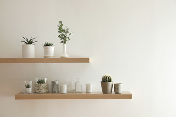 Foto auf Acrylglas Wand Wooden shelves with plants and decorative elements on light wall