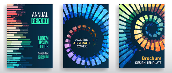 Minimal covers design with lines, spirals, shapes. Tech futuristic brochure. Abstract technology template. Vector geometric illustration.