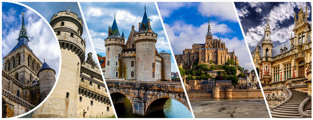Castles of France collage. Mont Saint Michele,  Castle of Sully sur Loire and Benedictine palace in Fecamp.