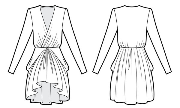 Technical drawing of evening dress with drape