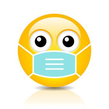 Sick emoji with flu mask
