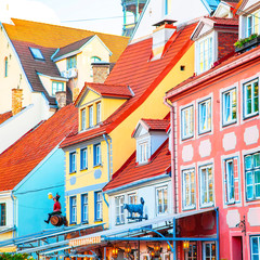 Fototapete - Colorful houses in Riga old town, Latvia