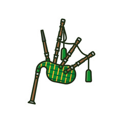 Scottish bagpipe isolated vector illustration
