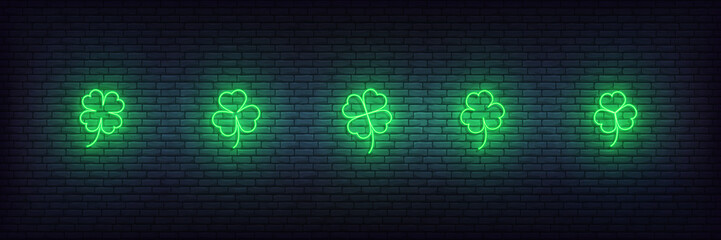 Clover neon icons for Saint Patricks Day. Set of green Irish shamrock icons for Saint Patrick's Day