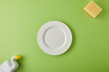 top view of white plate, sponge and bottle for dish washing on green