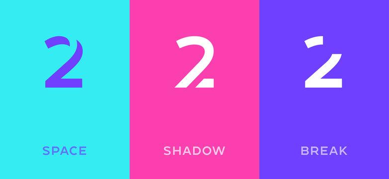 Set of number 2 minimal logo icon design template elements