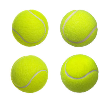 Tennis ball set isolated on a white