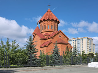 Armenian Church of St. Karapet in Yekaterinburg, Russia. The church is built in the traditional Armenian style of the 5th-7th centuries, and tiled with tuff brought from Armenia.
