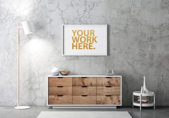 Horizontal White Frame Mockup on Concrete Wall