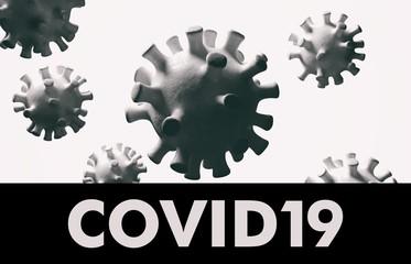 Covid19. Flu coronavirus floating, micro view, pandemic virus infection, chinese flu concept. 3d illustration