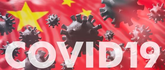 Covid19. Flu China coronavirus pandemic virus infection, chinese flu concept. 3d illustration