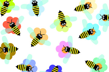Seamless picture with bees for design. Vector