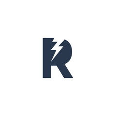 Logo Design Concept with initial letter and Thunder Flash Light Icon