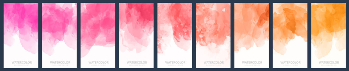 Tuinposter Vormen Set of light purple, red and orange gradient vector watercolor vertical backgrounds for poster, banner or flyer