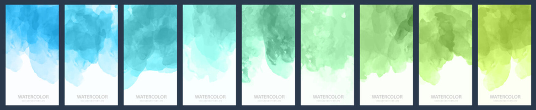 Set of light green-blue gradient vector watercolor vertical backgrounds for poster, banner or flyer