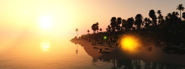 Obraz Beautiful sunset over the tropical shore, sea sunset with palm trees, 3D rendering - fototapety do salonu