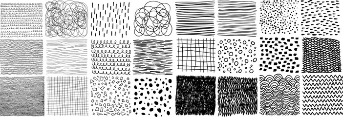 Collection of hand-drawn texture, lines, dots, scribbles, hatching, cells, strokes and abstract graphic design elements isolated on white background