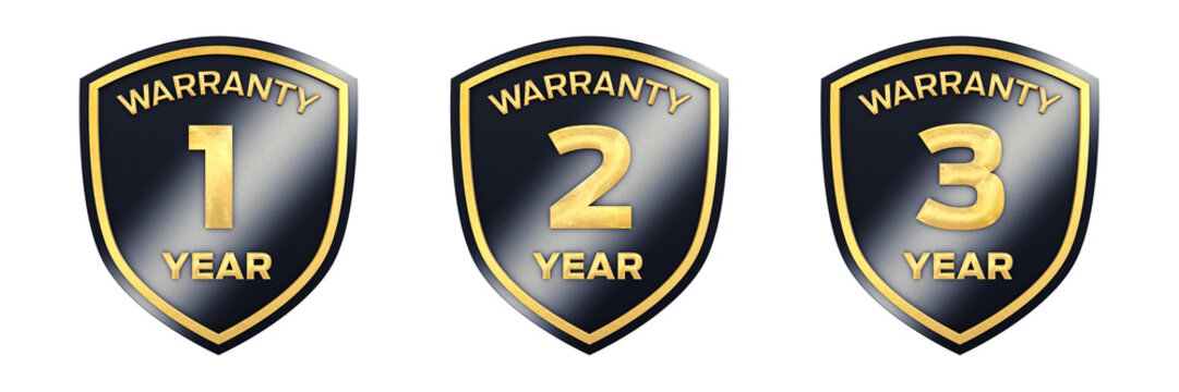 Set of 1,2,3 year black and gold warranty label icons isolated on white, 3d illustration