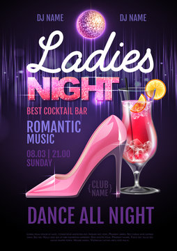 Disco ball background. Disco party poster ladies night. Womens day party