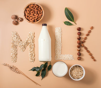 Plant based vegan milk, healthy alternative drink in bottle on wooden background, word milk, letters made of ingredients for plant milk