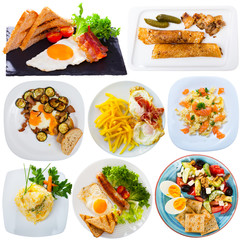 Collection of breakfasts on white background