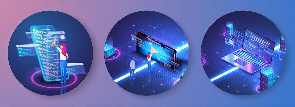 Programmer at work concept banner. Software, web development, programming concept. Computer animation designer. Web development, motion graphic design.Technology process of Software development.People