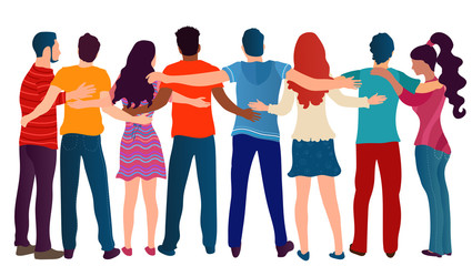 Group of people of different culture seen from behind embracing each other.Cooperation and help between people.Care and assistance.Concept of solidarity friendship and charity.Community