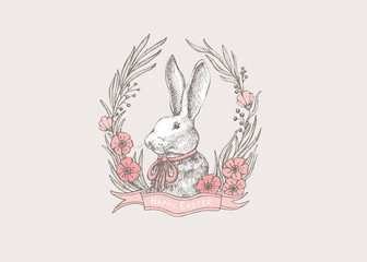 Vintage Easter picture with a white rabbit in a frame of pink flowers. Delicate spring picture for the holiday. Vector seasonal illustration on a light isolated background.