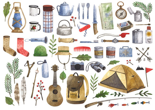 Big watercolor set of camping and hiking equipment, outdoors adventure, recreation tourism. Isolated items needed in the journey.