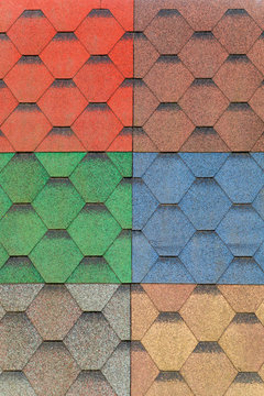 Soft tiles of different colors for the sample on the exhibition stand