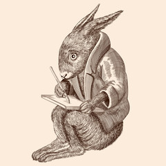 A fabulous animal hare in a jacket sits and writes on a tablet.