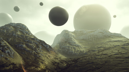 Rocky Hills with Floating Alien Geometric Sphere Shapes 3d rendering 3d illustration