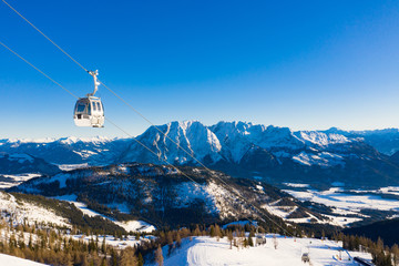 Cable car cabin in a touristic winter skiing resort