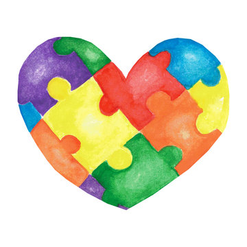 Watercolor hand drawn heart made of colorful puzzles.