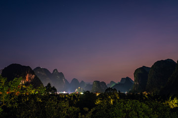 Yangshuo landscape and town at night