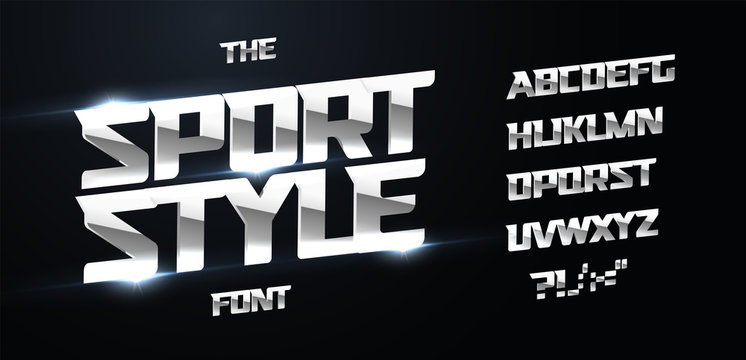 Sport style alphabet. Modern dynamic bold font, iron type for modern power logo, techno lettering, chrome headline for poster and banner graphic. Polished metal letters, vector typography design