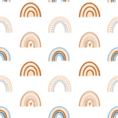 Seamless pattern of hand drawn boho rainbow in pastel blue and neutral beige colors on white background