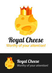 Cheese Emblem with Golden Crown. Vector badge illustration with Lettering isolated on white and black background.