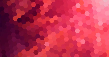 Mosaic Abstract Background Red color. Geometric pattern with hexagons in lovely rose gradient.