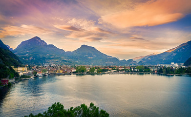 Poster Mediterraans Europa Beautiful landscape. View of Lake Garda and the Ponale trail carved into the rock of the mountain , Riva del Garda,Italy. Popular destinations for travel in Europe