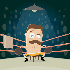 funny cartoon illustration of a boxer sitting in the corner
