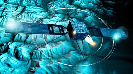 Spy satellite, satellite view of a terrain, military target. Hud. Physical planisphere. 3d render