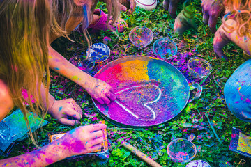Celebrating Festival of Colors, drawing a heart