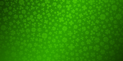Background on St. Patrick's Day made of clover leaves in green colors