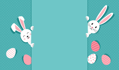 Easter bunnies and eggs greeting card. Paper rabbit on polka dot turquoise background. Vector illustration