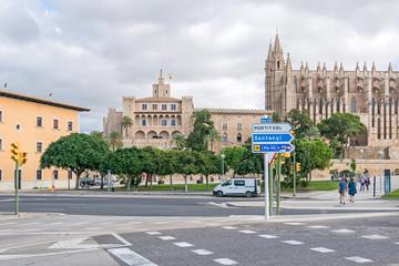 Paseo Maritimo and Palma Cathedral in Palma de Mallorca, Spain