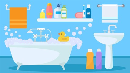 Bathroom interior with soapy foam water filled tub and toy duck for child playing vector illustration. Sink, bath items, accessories towels, shower gel and shampoo bottles, toothbrush.