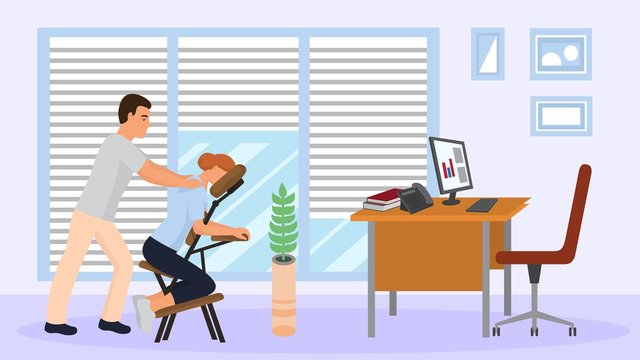 Massage at office workplace with portable massage chair vector illustration. People therapist masseur man and worker business woman patient at job break. Company room interior, computer desk, phone.